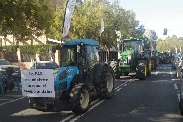 Un millar de vehículos claman en Sevilla por una PAC justa para los agricultores y los ganaderos de Andalucía